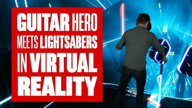 Chris plays Beat Saber - Guitar Hero + Lightsabers in VR!