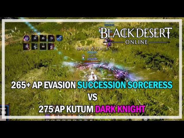 Dark Knight vs Succession Sorceress PVP - Black Desert Online