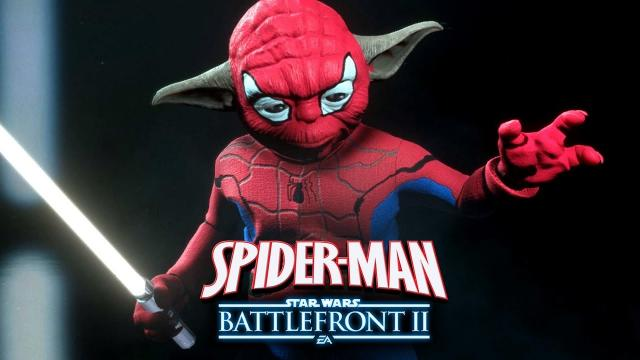 Spider-Man in Star Wars Battlefront 2! Funny Spider-Man Yoda Mod Gameplay!