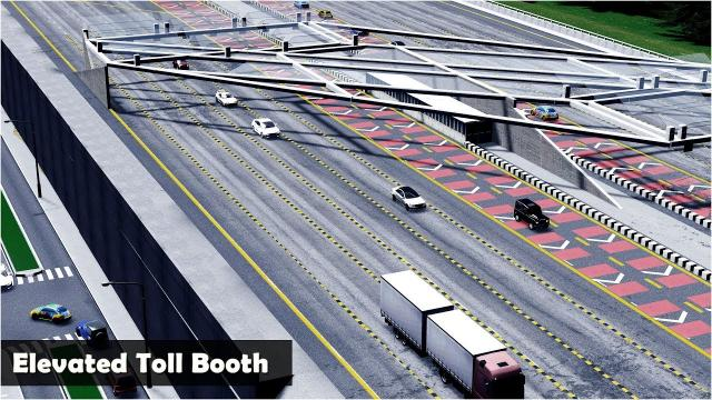 Elevated Toll Booth with speed up lanes - Cities Skylines: Custom Builds