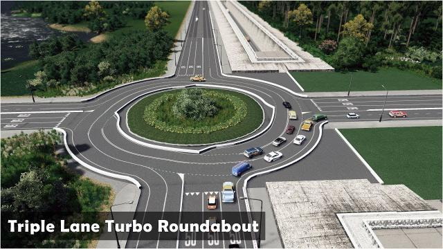 Triple Lane Turbo Roundabout - Cities Skylines: Custom Builds