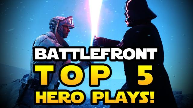Star Wars Battlefront - Top 5 INCREDIBLE Hero Moments & Plays! Darth Vader, Palpatine, Dengar!