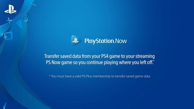 How can I transfer saved game data from PS4 to PS Now?
