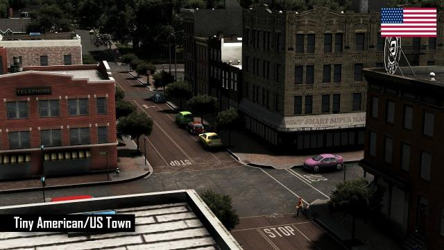 Cities: Skylines - Realistic builds: Tiny American/US Town in 45 minutes