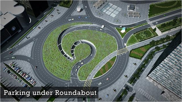 Parking under Roundabout - Cities Skylines: Custom Builds