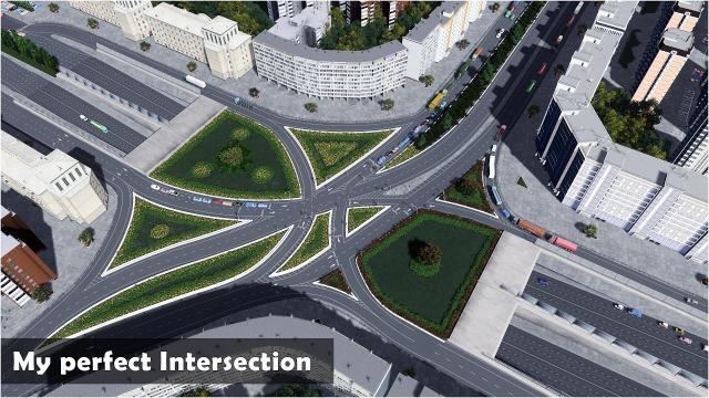 My Best Working Intersection above boulevard tunnels - Cities Skylines: Custom Builds